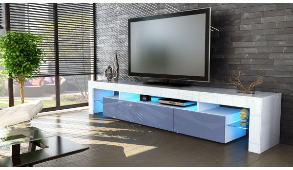 Meuble Tv Hi Fi Design Blanc 189 Cm Irio Cbc Meubles Meuble Tv Design Meuble Tv Meuble Tv Bas