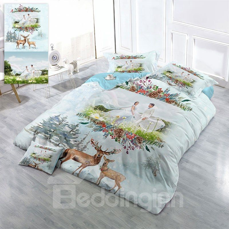 Custom Personal Picture 3D Printing Cotton 4 Piece Bedding Sets/Duvet Covers