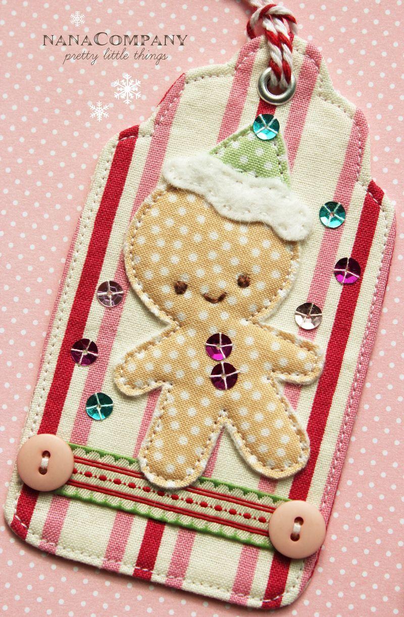 gingerbread boy fabric tag by nanaCompany #scrapfabric