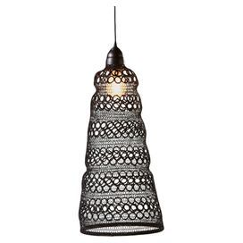 """Crafted from black wire and showcasing a contemporary silhouette, this eye-catching pendant brings eclectic appeal to your home library or breakfast nook.  Product: PendantConstruction Material: Wire and metalColor: BlackFeatures:  Openwork designTapered silhouetteAccommodates: (1) 100 Watt bulb -not includedDimensions: 21.63"""" H x 10.25"""" Diameter"""