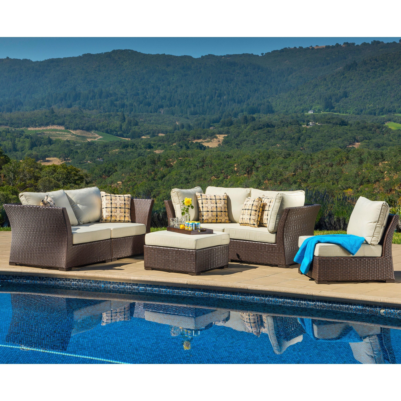 Corvus Oreanne 6 piece Brown Wicker Patio Furniture Set