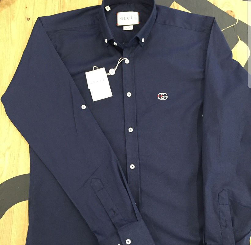 1374d9c7d37 Gucci Shirt Button Down Long Sleeve Men s Cotton Dress Small Color Navy   fashion  clothing  shoes  accessories  mensclothing  shirts (ebay link)
