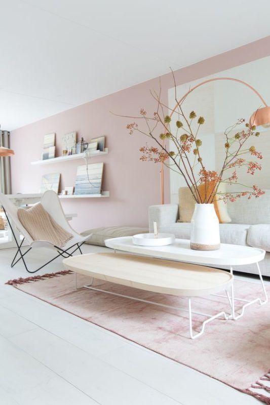 Rosa wande wohnzimmer  pouder pink living room | Wohnzimmer || Interior | Pinterest ...
