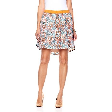 G by Giuliana Rancic Printed Flowy Shirttail Hem Skirt | Shirt tail hem, G by giuliana