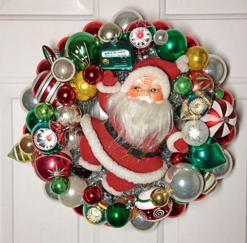 Handmade Vintage XL Santa Shiny Brite Ornament Wreath