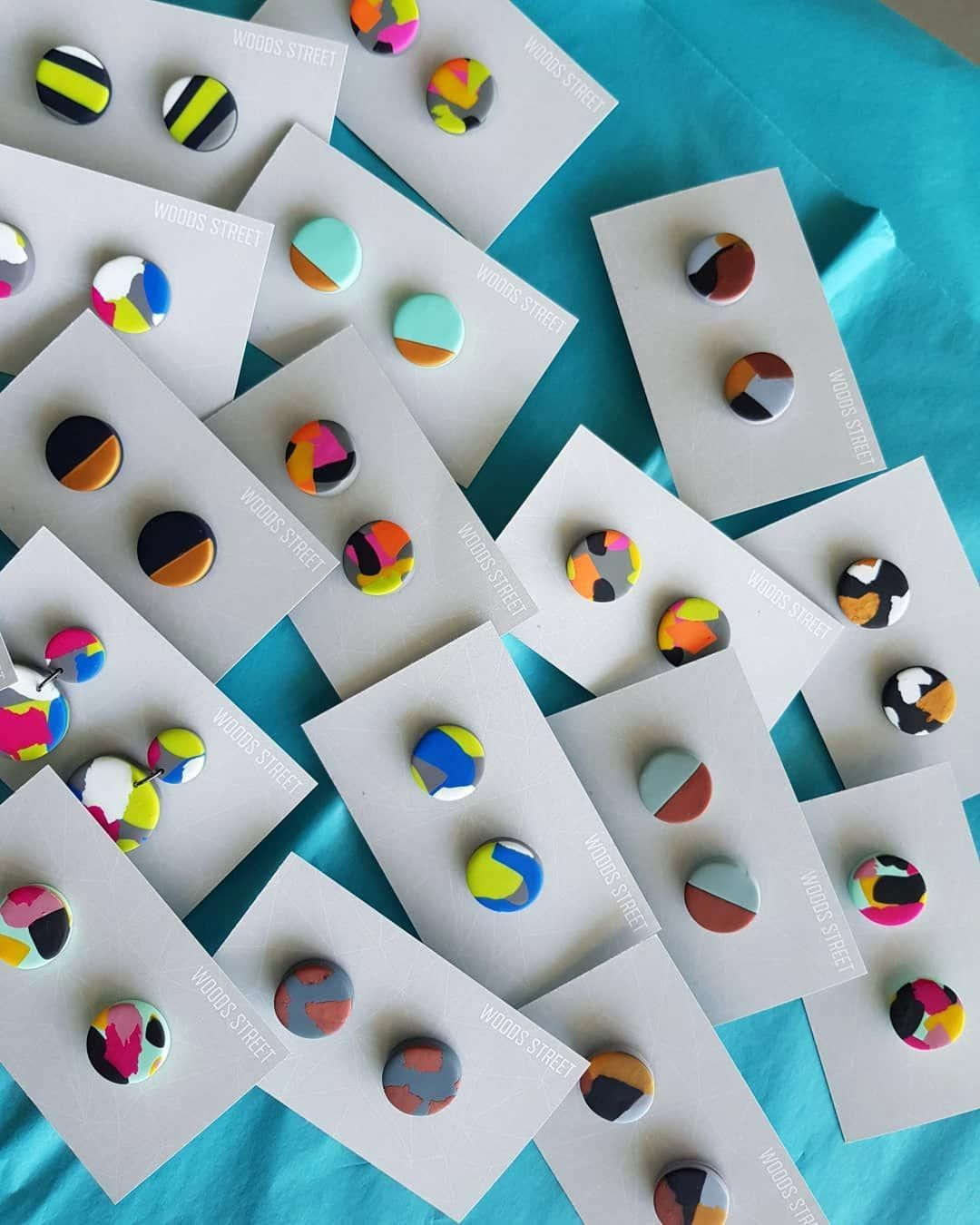 Polymer Clay Hand Painted Gingham Mini Flower Charm Hoop Earrings