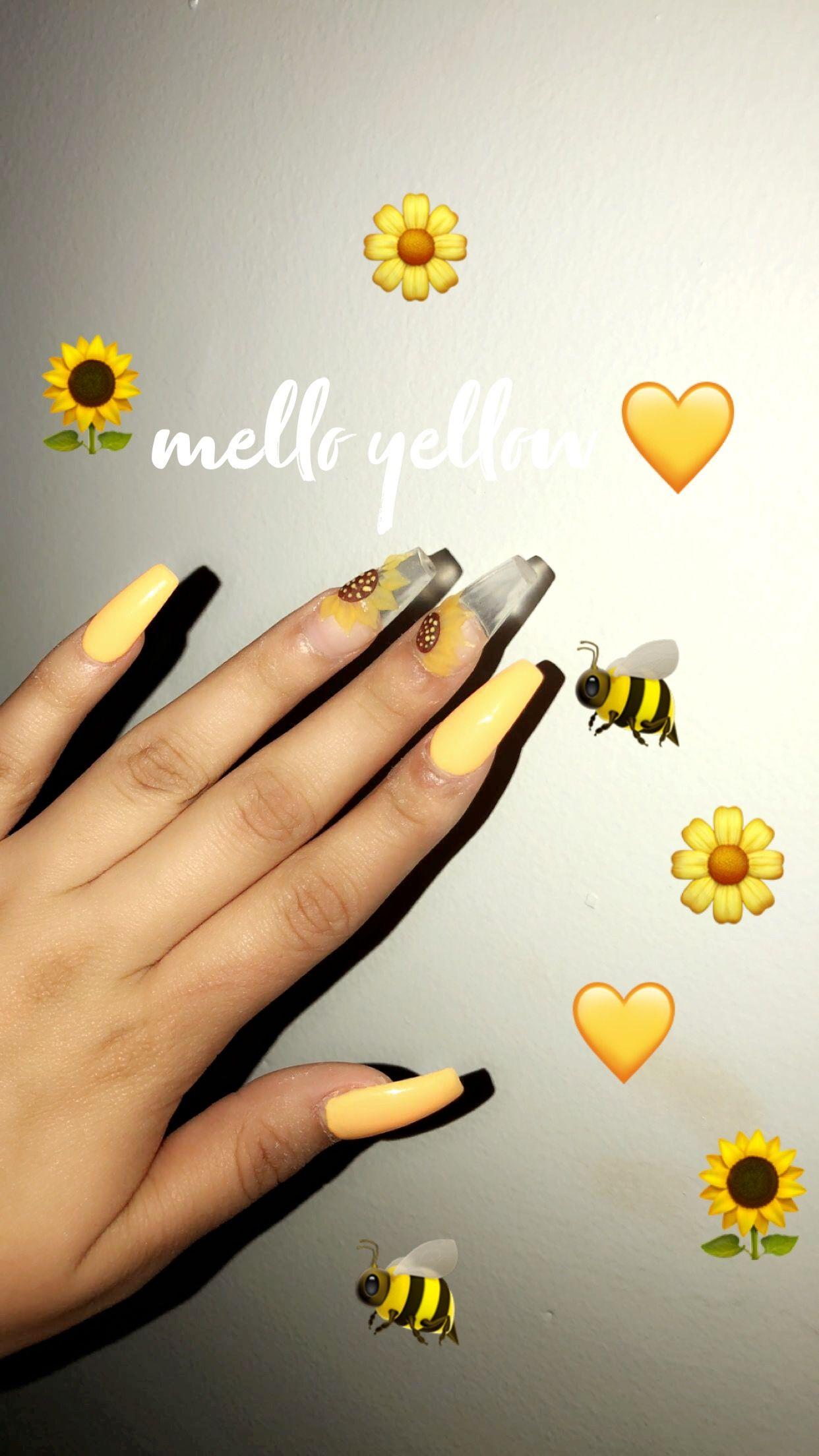 Yellow Sunflower Nails Nailart Acrylics Sunflower Yellow Nails Sunflower Nails Yellow Nails Prom Nails