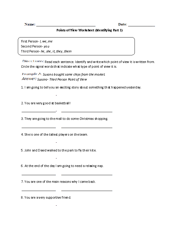 Collection of Point Of View Worksheets Grade 4 Sharebrowse – Point of View Worksheets