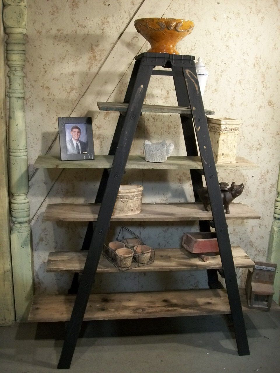 Double 6 Step Ladder Shelf Frame We Will Paint Or Leave It Natural Ladder Decor Ladder Shelf Wood Ladder Shelf
