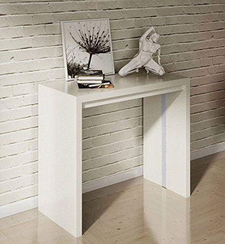 tavolo consolle allungabile moderna new net bianco lucido: amazon ... - Tavolo Cucina Bianco