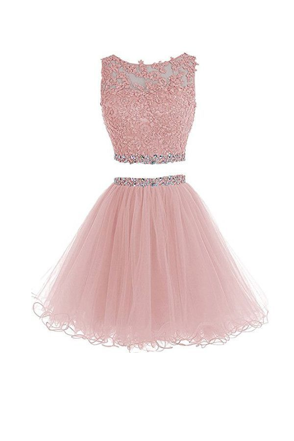 Two Piece Tulle Homecoming Dresses Short Prom Dresses With Beading ...