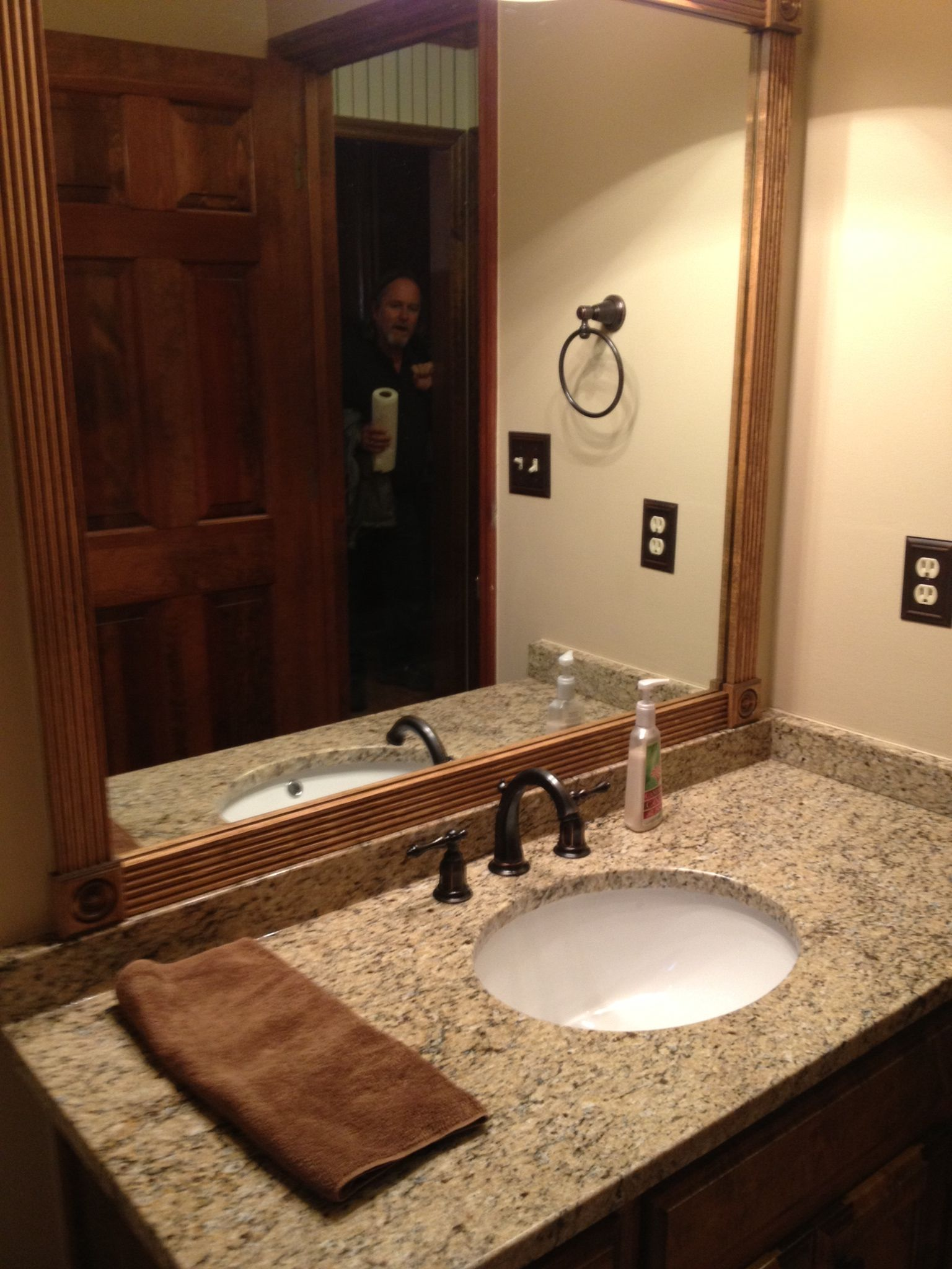 Stone Framed Bathroom Mirrors Completed Bathroom Remodel New Vanity And Granite