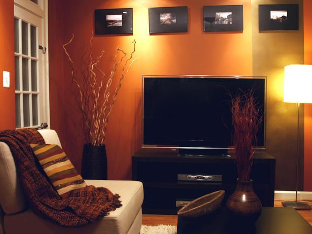 Burnt Copper Orange Medium Orange Living Room Wall Alex