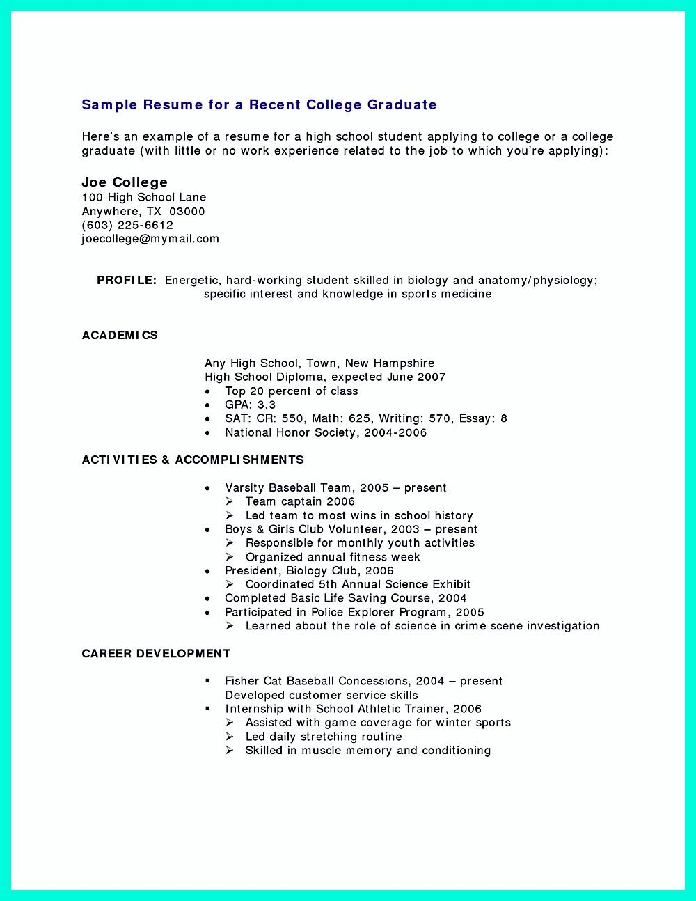 College graduate resume is needed If you think resume is not – Resume Example for College Graduate