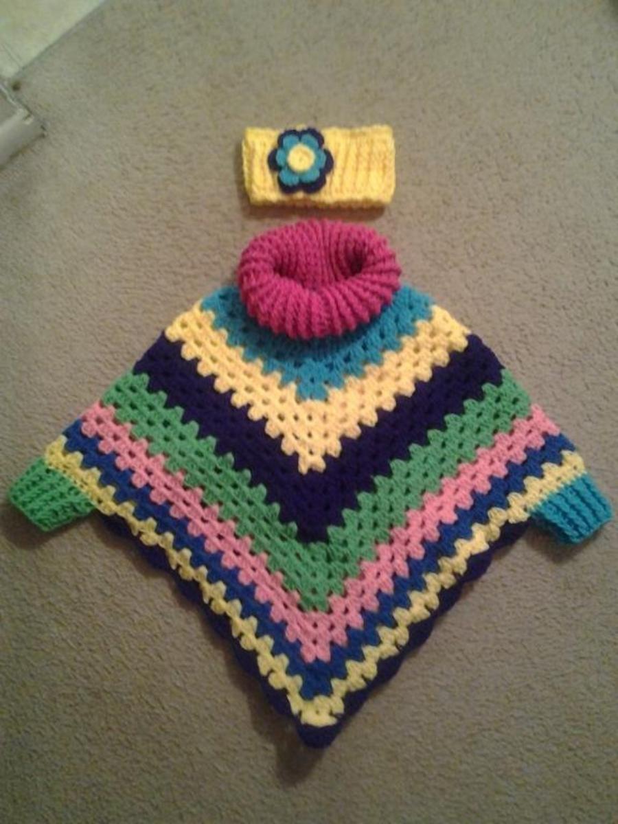Child\'s Cowl Neck Poncho with Cuffs | Пончо детское | Pinterest ...