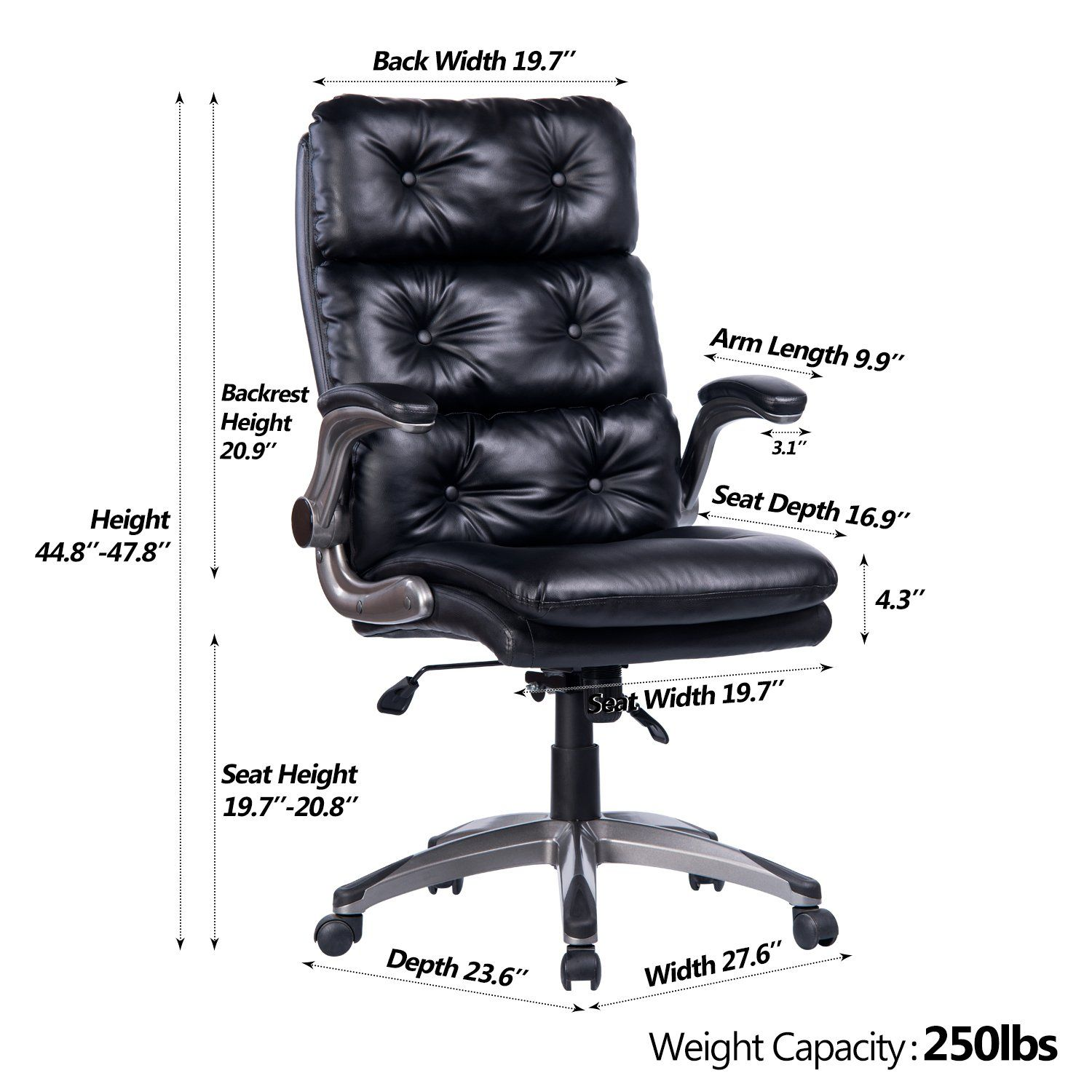 Vanbow High Back Bonded Leather Office Chair Adjustable Tilt Angle And Flipup Arms Ergonomic Tufted Computer Desk Exec Office Chair Leather Office Chair Chair