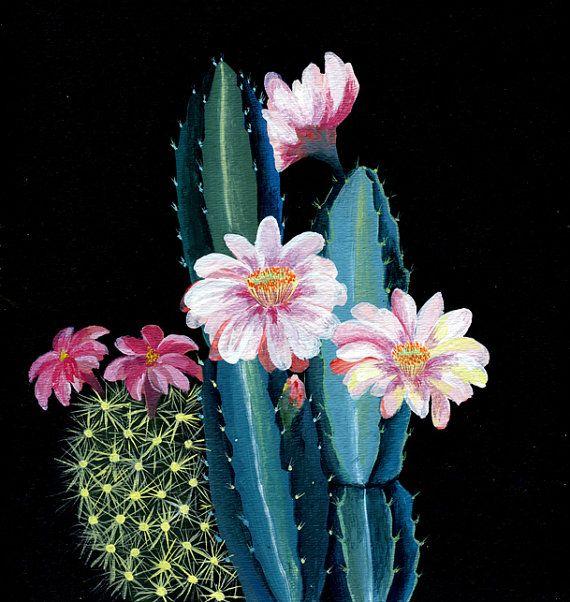 Night cactus garden  illustration  giclee print is part of Night garden Illustration - artandpeople