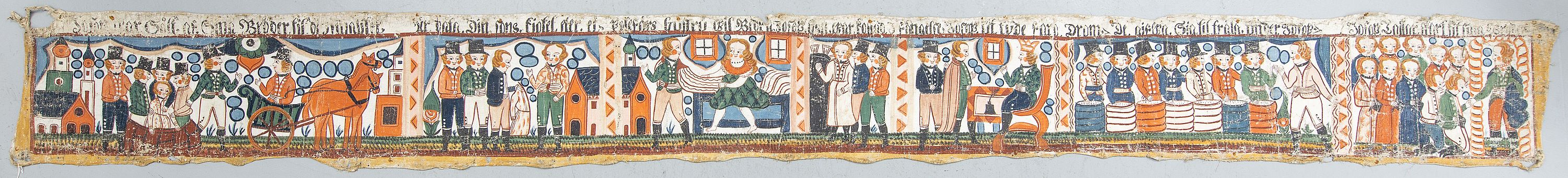 Traditional Wall Painting, Swedish, folk art, Småland/Halland, early 1800s. Rolled. ca 37 x 366 cm.