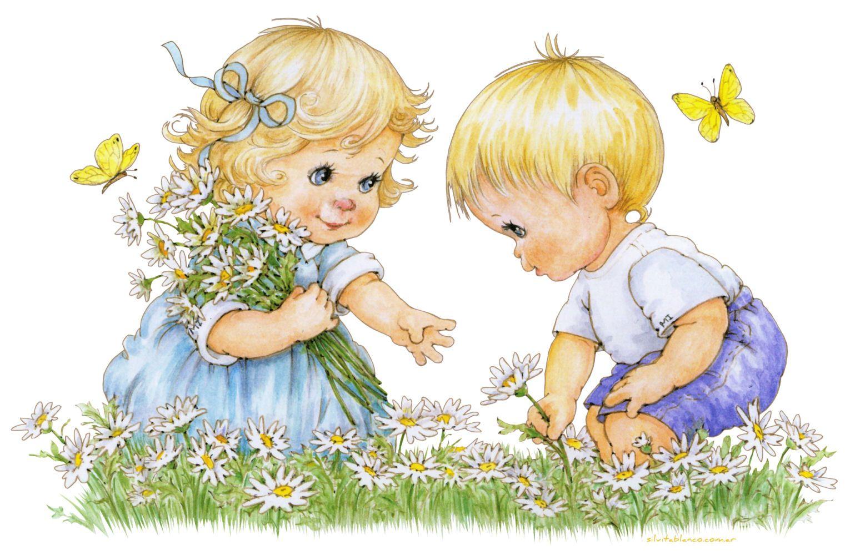 Детские картинки дети с ромашками