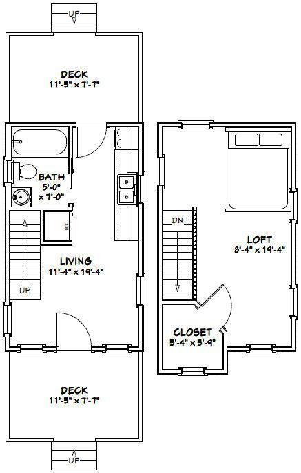12x20 Tiny House Pdf Floor Plan 464 Sq Ft Model 3