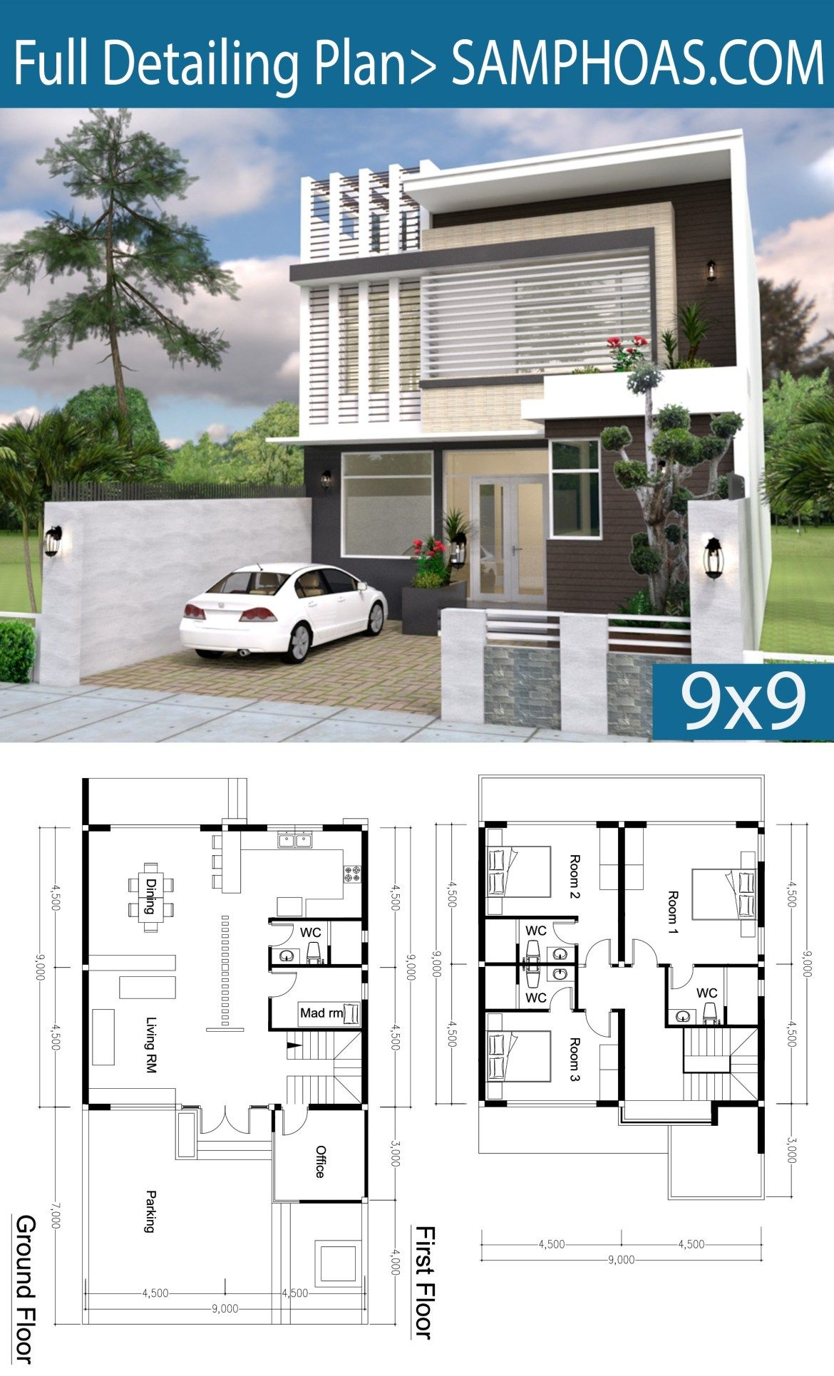 3 Bedroom Modern Home Plan 9x9m Samphoas Plansearch Modern House Plans Architectural House Plans Model House Plan
