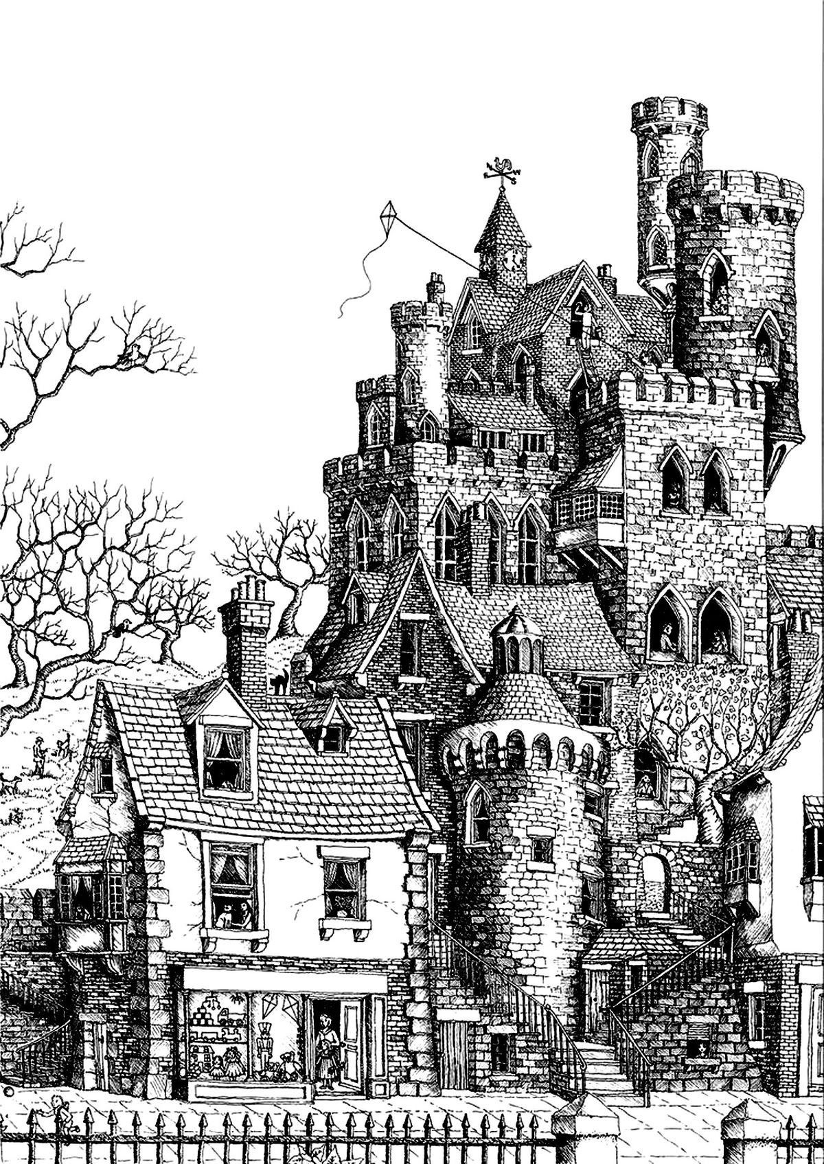 Pin By Oje Nassan On Oje Castle Coloring Page Detailed Coloring Pages Coloring Rocks