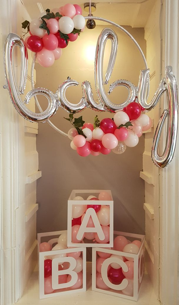 Beautiful Baby Hoop Garland With ABC Balloon Blocks. Also