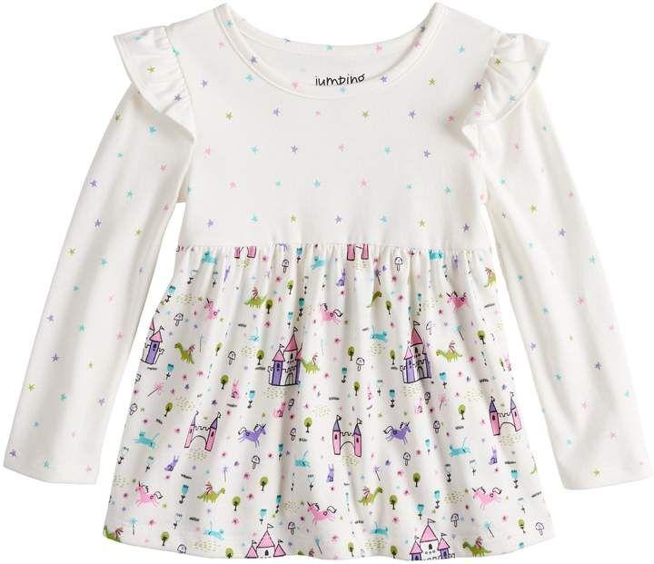 26e2122a Toddler Girl Jumping Beans Long Sleeve Flutter Sleeve Printed Babydoll Top