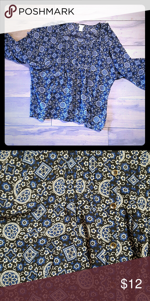 Blue blouse Somewhat sheer blue blouse with cute designs, fits like a medium Tops Blouses