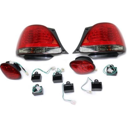 1998-2005 Lexus GS300 Led Clear Tail Lamp,Set,Inner & Outer,Smoked/red Lens