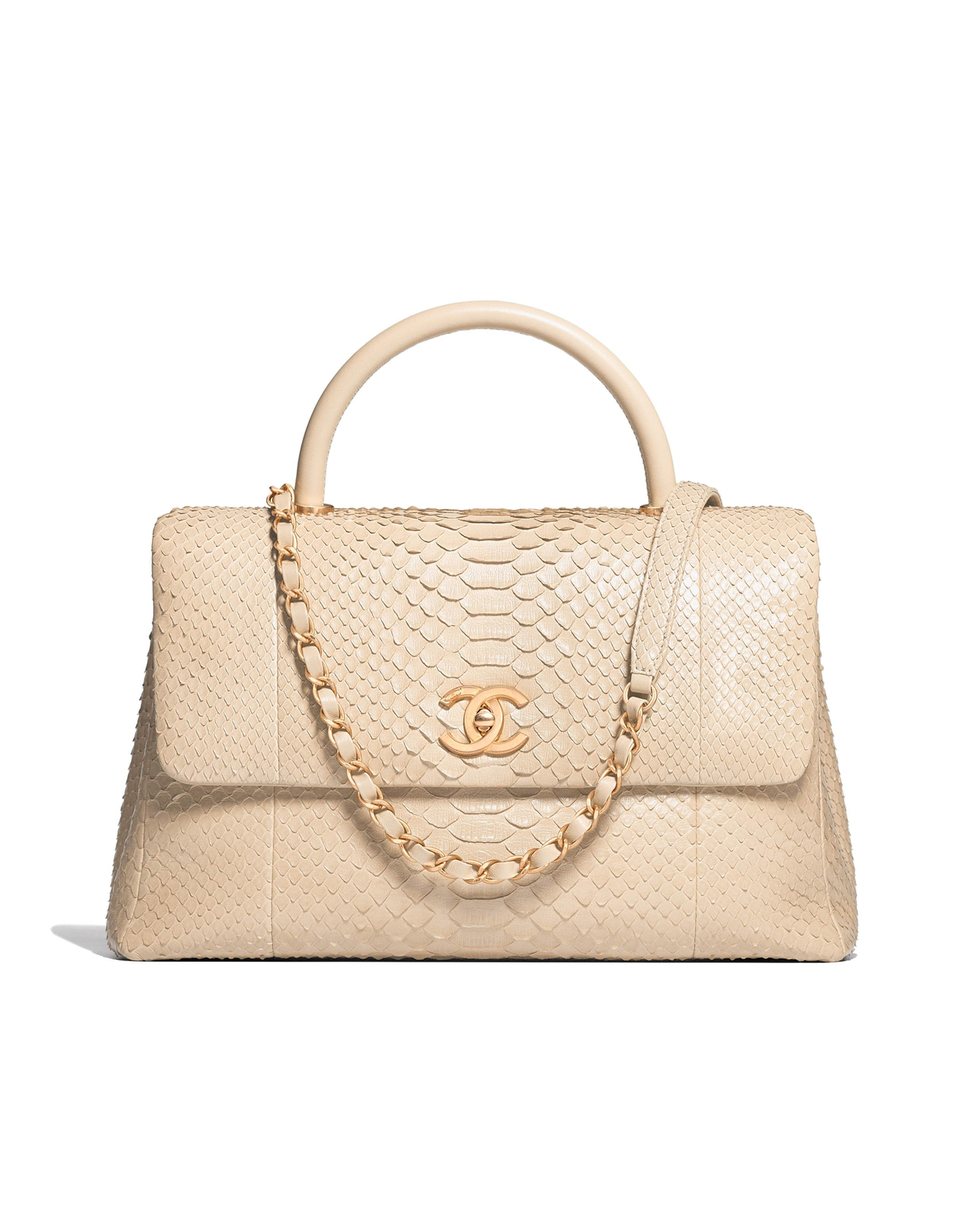 ca69eb760d7 Large flap bag with top handle, python, lambskin & gold-tone metal-beige -  CHANEL