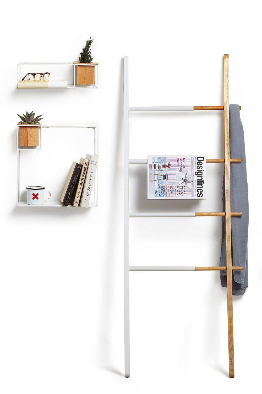 Umbra cubist book shelf metalwood white small amazon