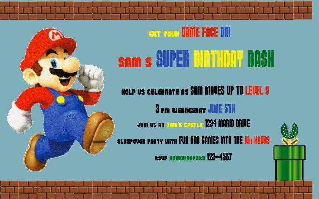 mario party invitation wording | Mario Birthday Party | Pinterest ...