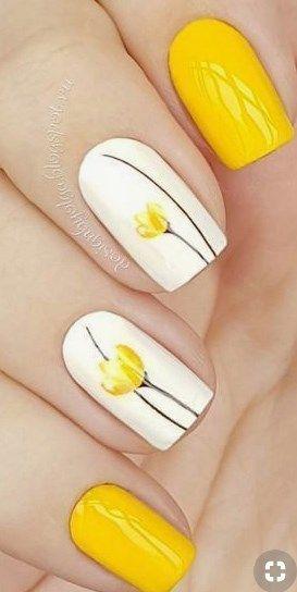 Pin By Lisa Grove On Nail Art In 2020 Yellow Nail Art Spring
