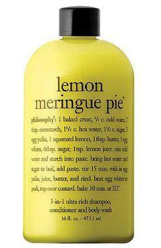Lemon Meringue Pie 3 In 1 Ultra Rich Shampoo Conditioner Body Wash Philosophy Body Wash Lemon Meringue Bath And Body Care