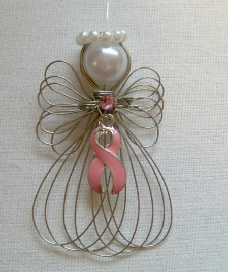 Breast Cancer Awareness Pink Ribbon Angel Ornament Handmade