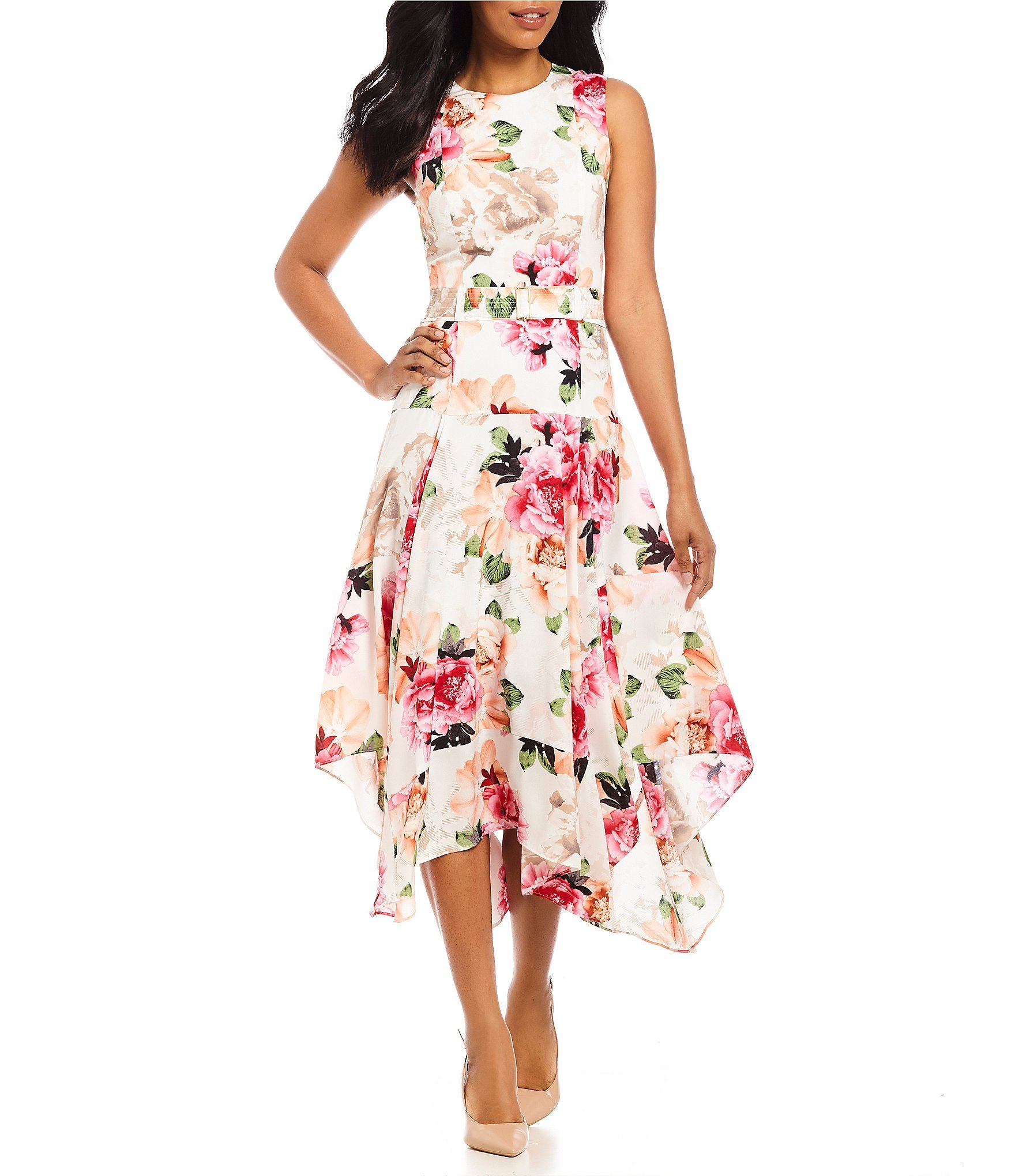 543cbfdac0c Shop for Calvin Klein Pieced Floral Print Belted Handkerchief Hem Midi Dress  at Dillards.com. Visit Dillards.com to find clothing, accessories, shoes,  ...