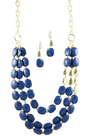 """24"""" Navy/Gold Graduated 3 Strand Necklace with a lobster claw clasp and 2 1/4"""" posted earrings. Includes 3"""" extender."""
