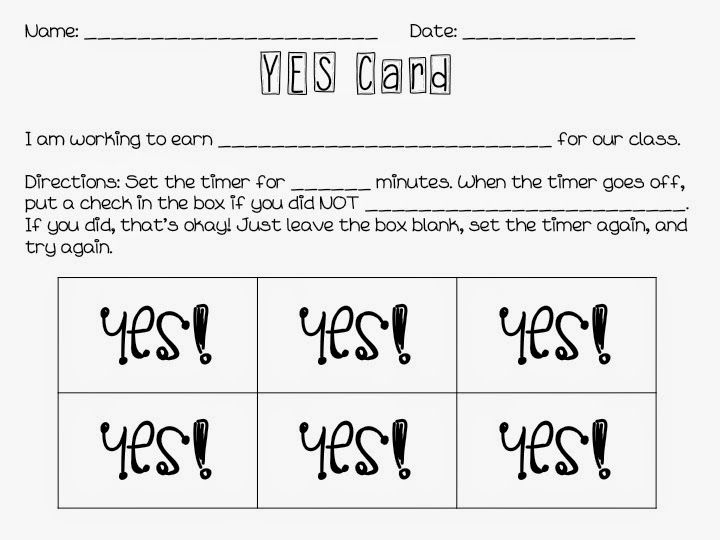 YES Card - behavior For the class room Pinterest Educational - behavior intervention plan