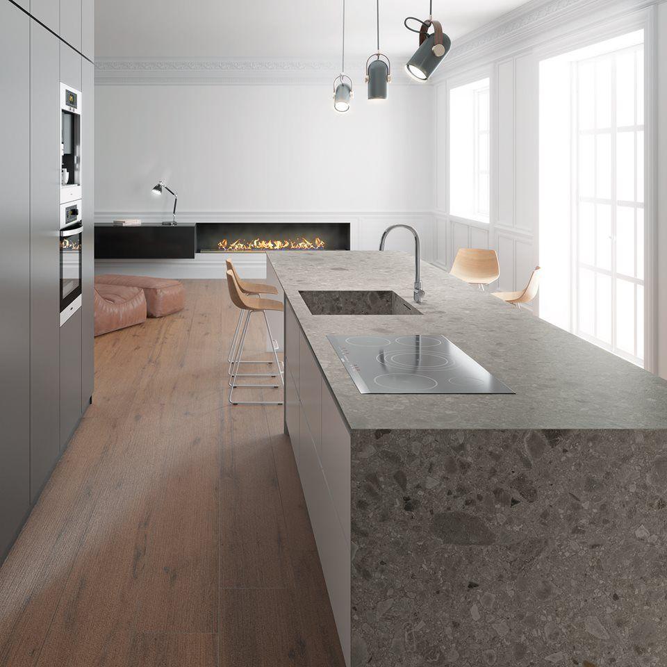 Ceramic Kitchen Top Countertop Stools Iseo Gris Abujardado Bush Hammered Keramiek Kitchentop Keuken Keukenblad Keukenwerkblad
