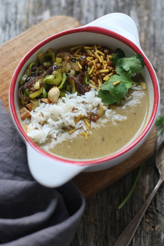 Mulligatawny spiced vegetable pepper soup recipe mulligatawny mulligatawny pepper spiced lentil and vegetable soup with fried leeks and onions forumfinder Choice Image