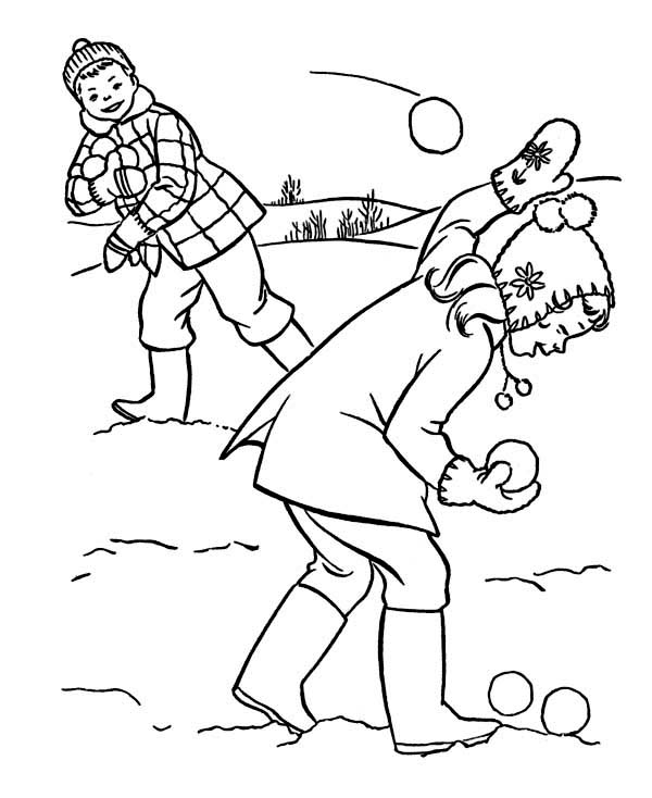 Throwing Snowball On Snowball Fight During Winter Season Coloring Page Coloring Pages Love Coloring Pages Online Coloring Pages