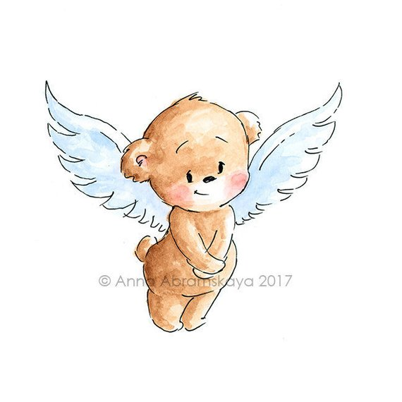 Teddy Bear with Wings – Printable Art – Nursery Wall Decor – Children's Illustration – Digital file – Instant Download – Watercolor – Cupid