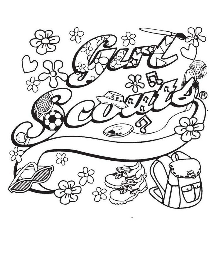 Brownie Girl Scout Coloring Pages Girl Scout Ribbon Coloring