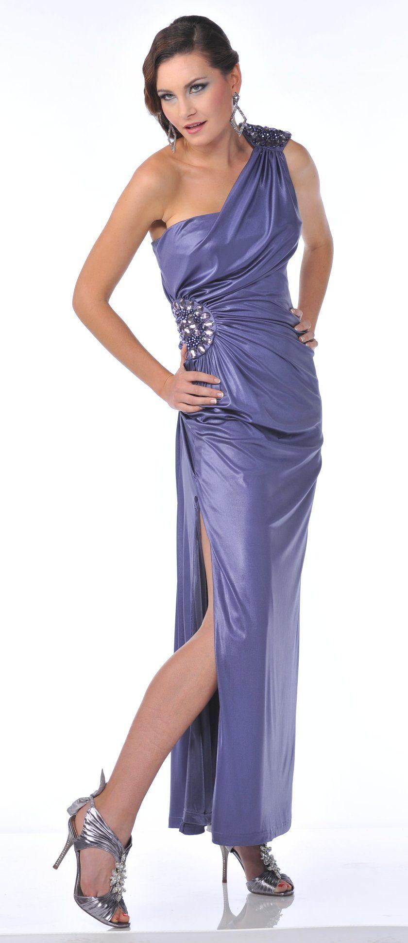 Sexy side slit greek style one shoulder purple long formal jewel
