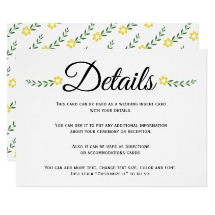 Typography Yellow Floral Wedding Details Insert Zazzle Com