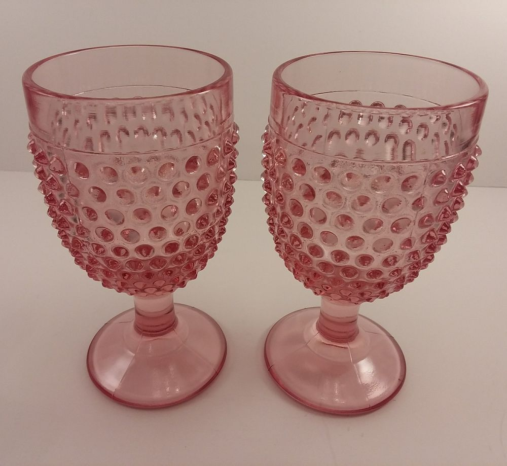 2 Le Smith Glass Pink Hobnail 5 7 8 Water Goblets Lesmithglass Artdeco Vintage Glassware Mason Jar Wine Glass Glassware