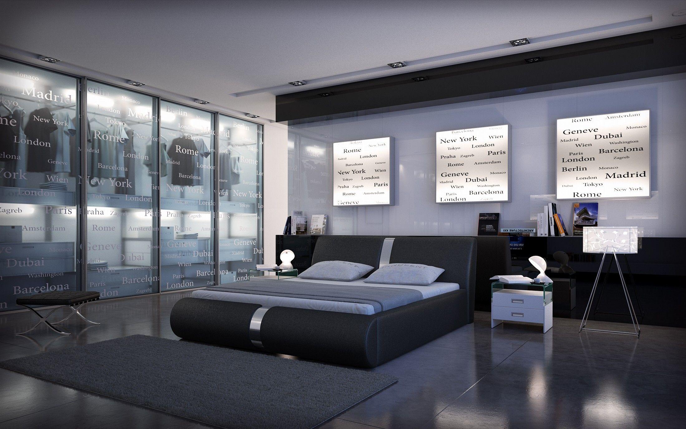 Cama de matrimonio de diseño Brindisi en color negro | Habitaciones ...