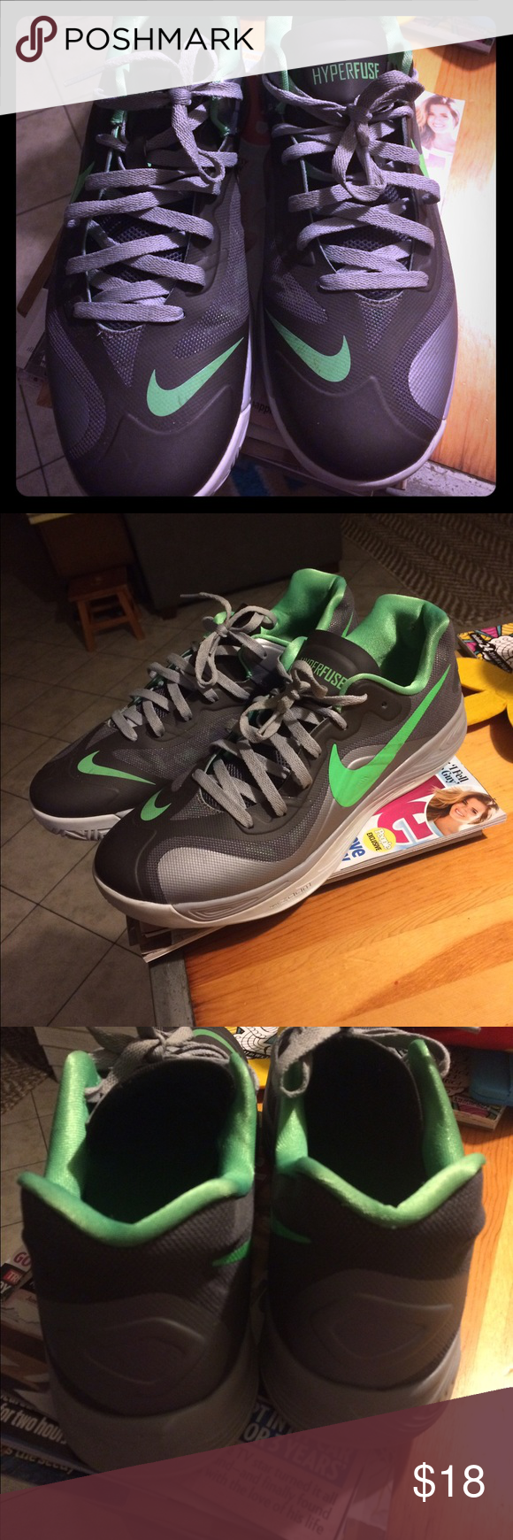 Mens Hyperfuse Nike tennis shoe. Size 13 EUC. Only wore a handful of times. Grey workout shoe Nike Shoes Athletic Shoes