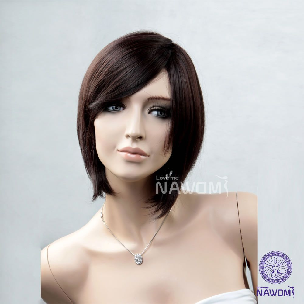 New free shipping women wigs short dark brown straight wigs for sale